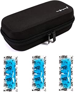 Vianber Insulin Portable Cooler Case with Temperature Display EVA Hardshell Waterproof Medical Supplies for The Diabetic with Ice Packs  Black