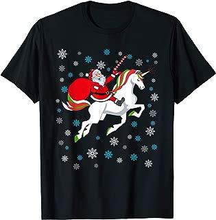 Christmas Unicorn Shirt Funny SANTA RIDING A UNICORN T-Shirt