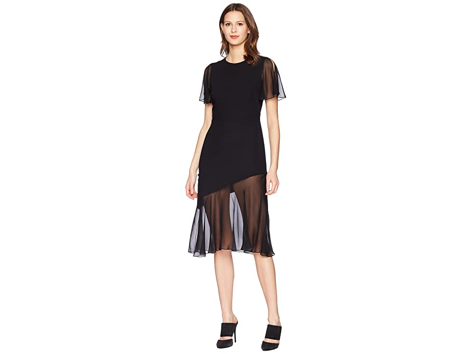 Prabal Gurung Sild Cady Victoria Flutter Sleeve Dress (Black) Women