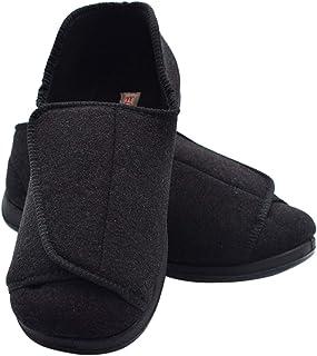 حذاء W&Lesvago للرجال عريض العرض لمرضى السكري مع إغلاق قابل للتعديل، شباشب لوذمة المفاصل للأقدام المتورمة والمسنين