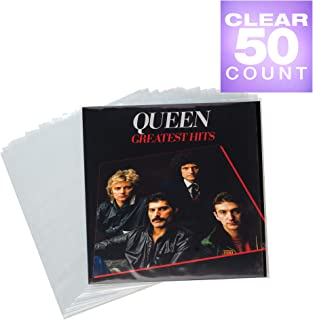 "Samsill 50 Pack Vinyl Record Storage, Clear Outer Plastic Sleeves for Your Vinyl Records Collection, 12.75"" x 12.5"" - 3 Mil. Clear Polyethylene Vinyl Sleeves"