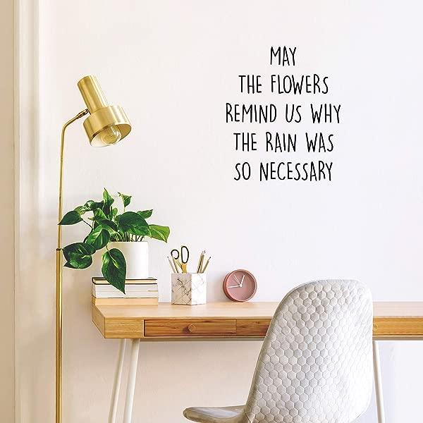 乙烯基墙壁艺术贴花愿花朵提醒我们为什么雨是如此必要 20x17 时尚励志自然植物家居客厅露台装饰贴纸报价