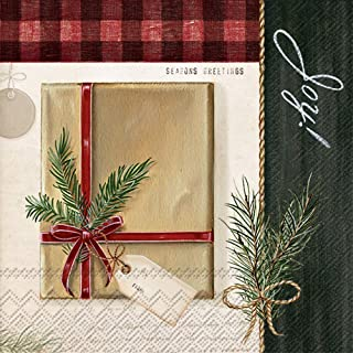 Boston International L835500 IHR Lunch Paper Napkins, 6.5 x 6.5-Inches, Holiday Wrapping