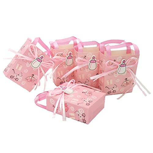 JZK 24 Pink Baby Shower Favour Bag Girl Sweet Mini Party Paper For