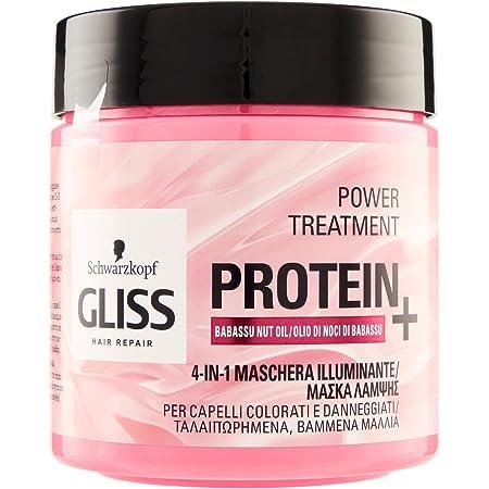 Gliss - Mascarilla Proteína 4 en 1 Aceite de Babasu, Proteína para tu Cabello, Fórmula Vegana y sin Volorantes Artificiales, para Cabello sin Brillo, ...