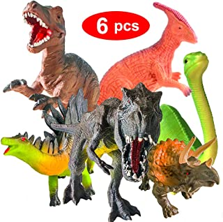 ToyerBee 13'' Dinosaur Toys, 6 Pcs Jumbo Dinosaur Set, T-rex Dinosaurs Toys for Dinosaur Lovers, Kids, Adults, Great Choice for Boys, Girls, Birthday Gift, Party Favors, Rewards with Educational Map