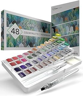 پالت آبرنگ با پد کاغذی Bonus توسط GenCrafts - شامل 48 رنگ پریمیوم - 2 قلم قلمویی مخلوط آب قابل شارژ - بدون مورد ذخیره سازی ظروف سرباز یا مسافر - 15 برگه کاغذ رنگی آب - 15 نقاشی قابل حمل