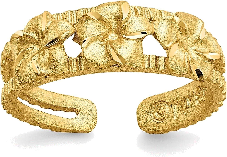Bonyak Jewelry Plumeria Toe Ring in 14K Yellow Gold in Size 11