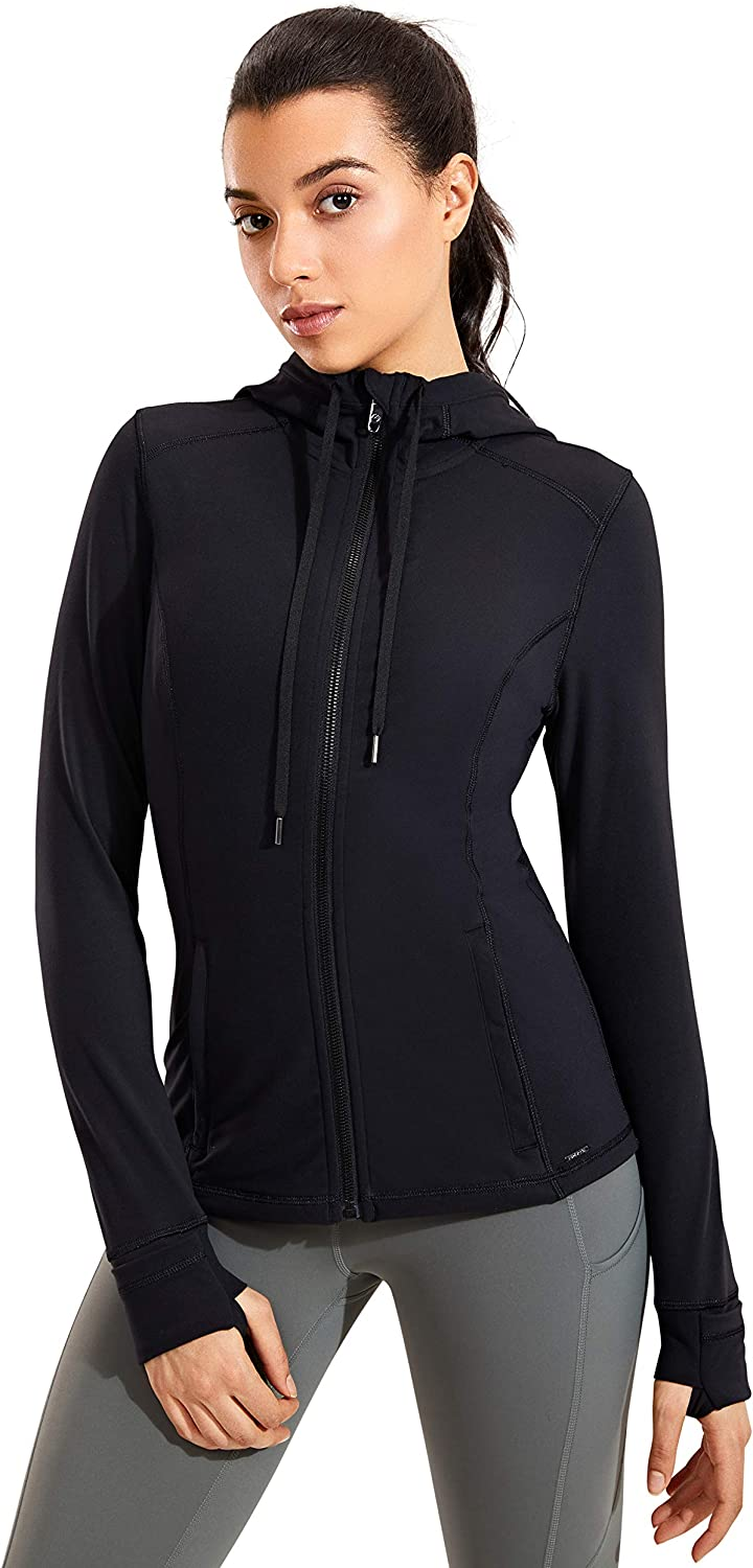 CRZ YOGA Women's Brushed Full Zip Hoodie Jacket Sportswear Hooded Workout Track Running Jacket with Zip Pockets : Sports & Outdoors