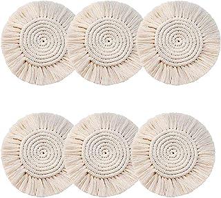 JSSEVN Sets de table ronds tissés à la main en macramé - Sets de table faits à la main - Style bohème - Pour salon, chambr...