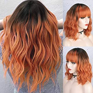 Nnzes Short Wavy Bob Wigs with Bangs for Women Ombre Orange Shoulder Length Bob Curly Women's Synthetic Wigs Black To Oran...
