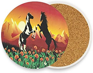 Horses On Flower Coasters, Protection For Granite, Glass, Soapstone, Sandstone, Marble, Stone Table - Perfect Wood Coasters,Round Cup Mat Pad For Home, Kitchen Or Bar Set Of 2