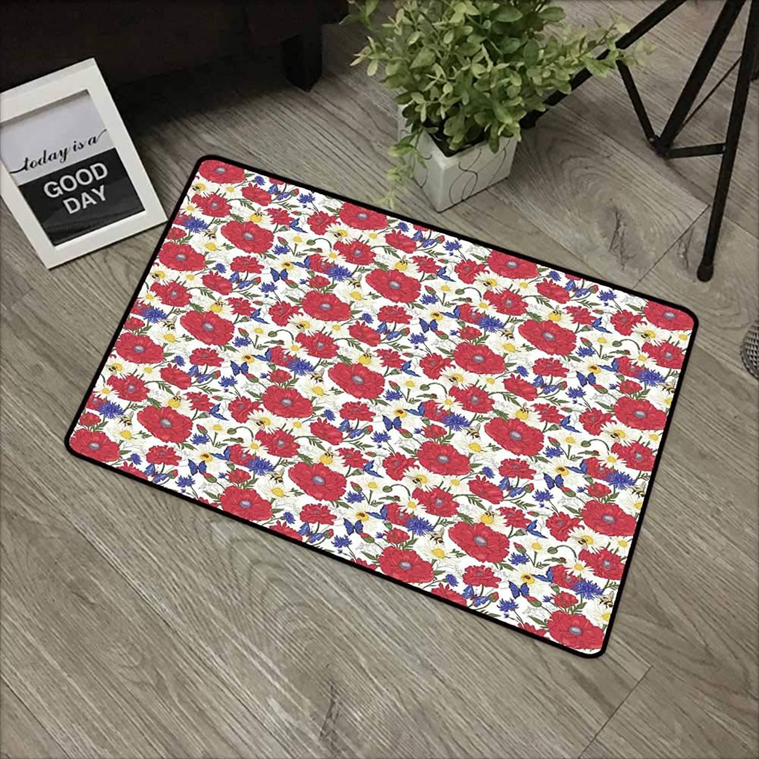 Bathroom Door mat W35 x L59 INCH Floral,Blooming Red Poppies Chamomile Ladybird and Daisies Bumblebee Bees and Butterflies,Multicolor Non-Slip Door Mat Carpet