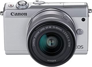 Canon M100 EF-M 15-45mm f/3.5-6.3 IS STM, Mirrorless Camera - White