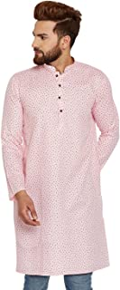 Sojanya Men's Cotton Linen Printed Kurta