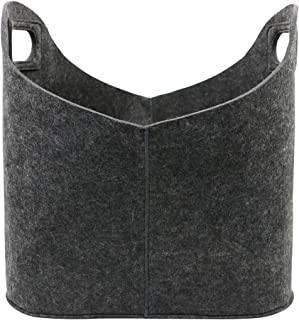 LIMEIDE Portable Holder Bag/Bin/Basket for Storage,Brown Felt Bin with Handles,Collapsible & Stronger Storage Solution for Office,Bedroom,Camping,Toys Large,15.8x11.8x15.8 inches (LxWxH)