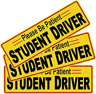"""3pcs 12""""x3.8"""" Student Driver Please Be Patient Sticker Decal Safety Signs for New Driver, Paint Safe Removable Back Glue S..."""