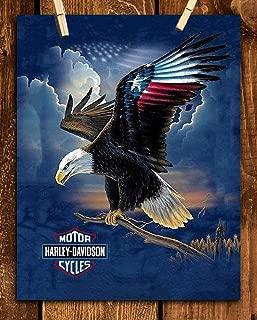 Harley Davidson- American Eagle Wall Art Print- 8 x10