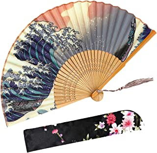 Handmade Folding Fan Sea Waves Japanese Vintage Style Portable with Fabric Sleeve for Women Girls(Blue)