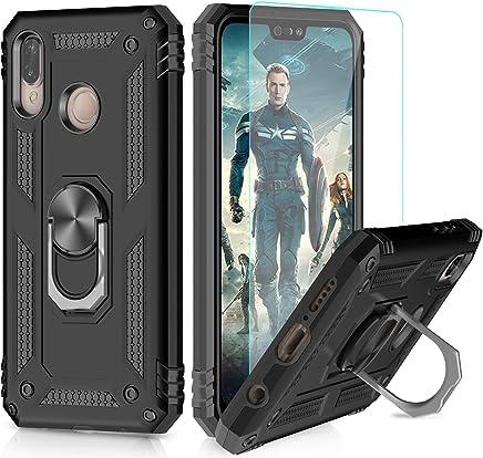 LeYi Funda Huawei P20 Lite Armor Carcasa con 360 Anillo iman Soporte Hard PC y Silicona TPU Bumper antigolpes Fundas Carcasas Case para movil P20 Lite con HD Protector de Pantalla,Negro