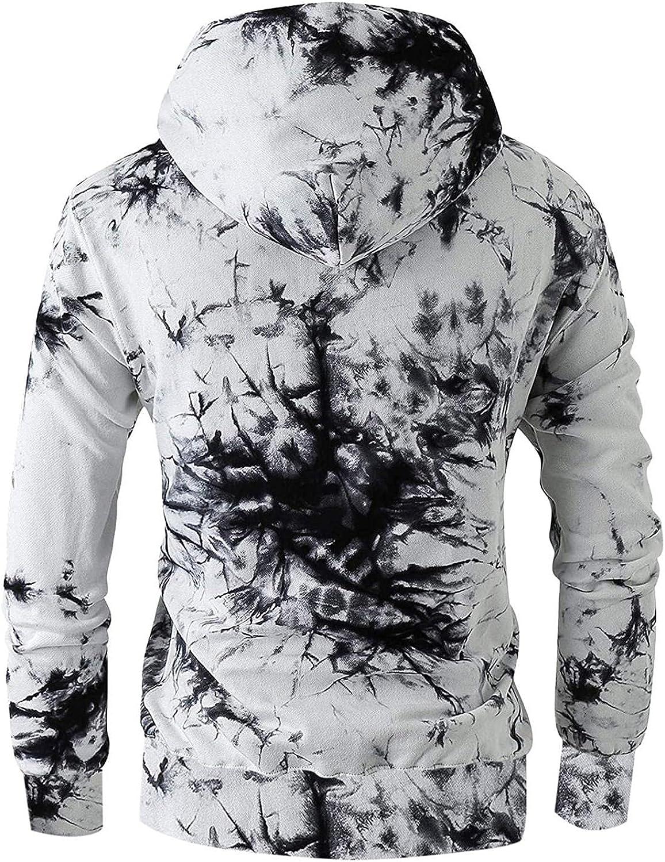 Hoodies for Men,Fashion Tie-Dye Printed Sweatshirts Long Sleeve Athletic Hoodies Sport Pullover Drawstring Tops