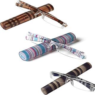 LianSan Leesbril Lichtgewicht Draagbare Gestreepte Mens Womens Vouwen Frameless Mode Ontwerper Rimless Leesbril 1.0 1.25 ...