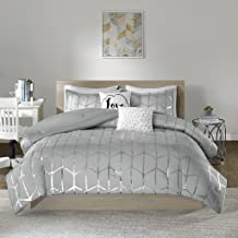 Intelligent Design Raina Comforter Set Full/Queen Size - Grey Silver, Geometric – 5 Piece Bed Sets – Ultra Soft Microfiber Teen Bedding for Girls Bedroom