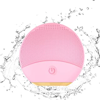 Silicone Facial Cleansing Brush, Xpreen Electric Sonic Vibrating Facial Cleansing Brush - Waterproof Face Brushes for Cleansing and Exfoliating - Silicone Face Cleaner (Pink)