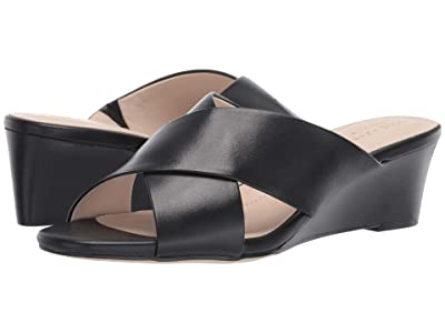 Cole Haan 50 mm Adley Grand Wedge Sandal (Black Leather/Black Stack) Women