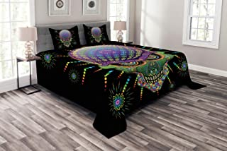 Ambesonne Psychedelic Bedspread, Digital Mexican Sugar Skull Ceremony Halloween Ornate Effects Design, Decorative Quilted 3 Piece Coverlet Set with 2 Pillow Shams, Queen Size, Purple Green