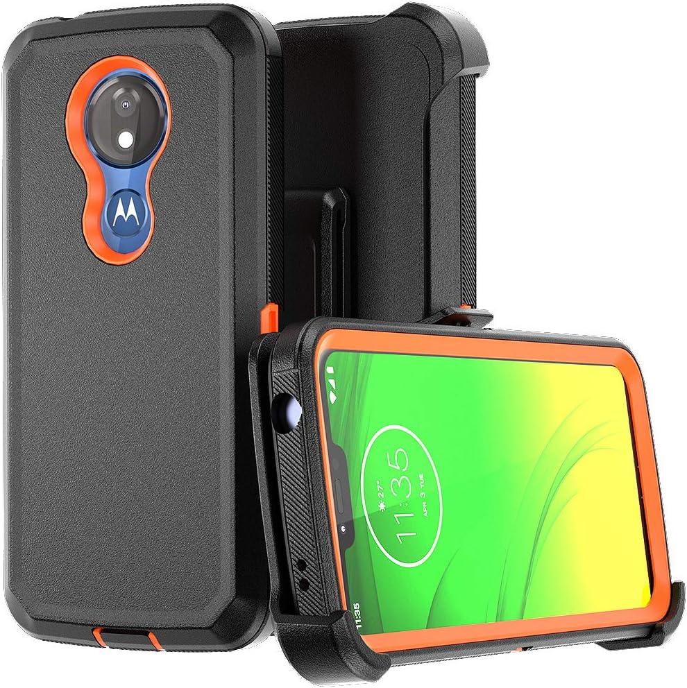 Moto G7 Power Case Motorola Moto G7 Supra / G7 Optimo Maxx Heavy Duty Hard Shockproof Protector Shield Case Cover with Belt Clip Holster for Motorola G7 Power (Black&Orange)