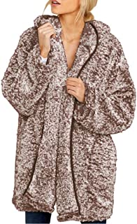 New in Respctful✿ Women's Sherpa Fleece Outwear Open Front Hooded Long Sleeeve Cardigan Outwear with Pocket