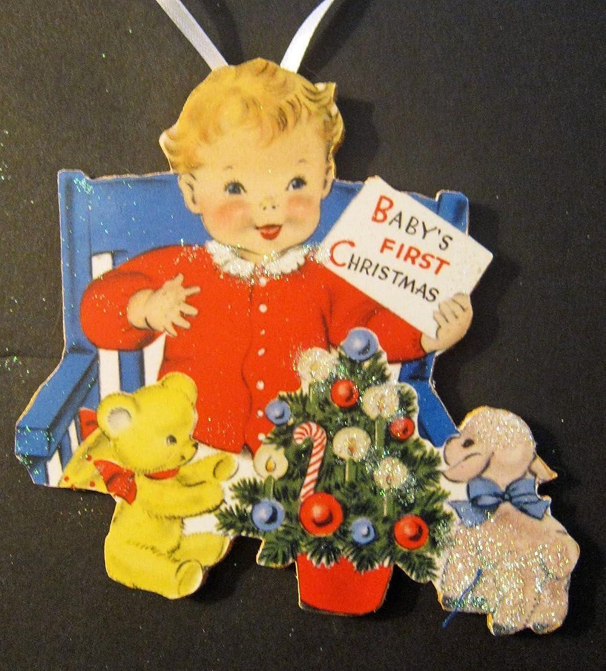 Baby's 1st Christmas Ornament Handcrafted Wood,Newborn Gift, Vintage Baby Card Nursery Decoration, Teddy Bear White Lamb, Blue High Chair Keepsake