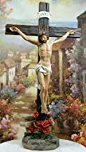 """Ebros INRI Jesus Christ Crucified On The Cross with Solemn Rose of Sharon Base Decorative Crucifix Desktop Statue 15.25"""" T..."""