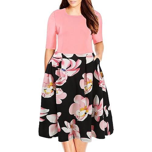 ab13a4c111c1b Nemidor Women s Floral Print Vintage Style Plus Size Swing Casual Party  Dress