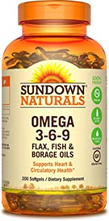 Sundown Naturals Triple Omega 3-6-9 Softgels, 200 ea (Pack of 2)