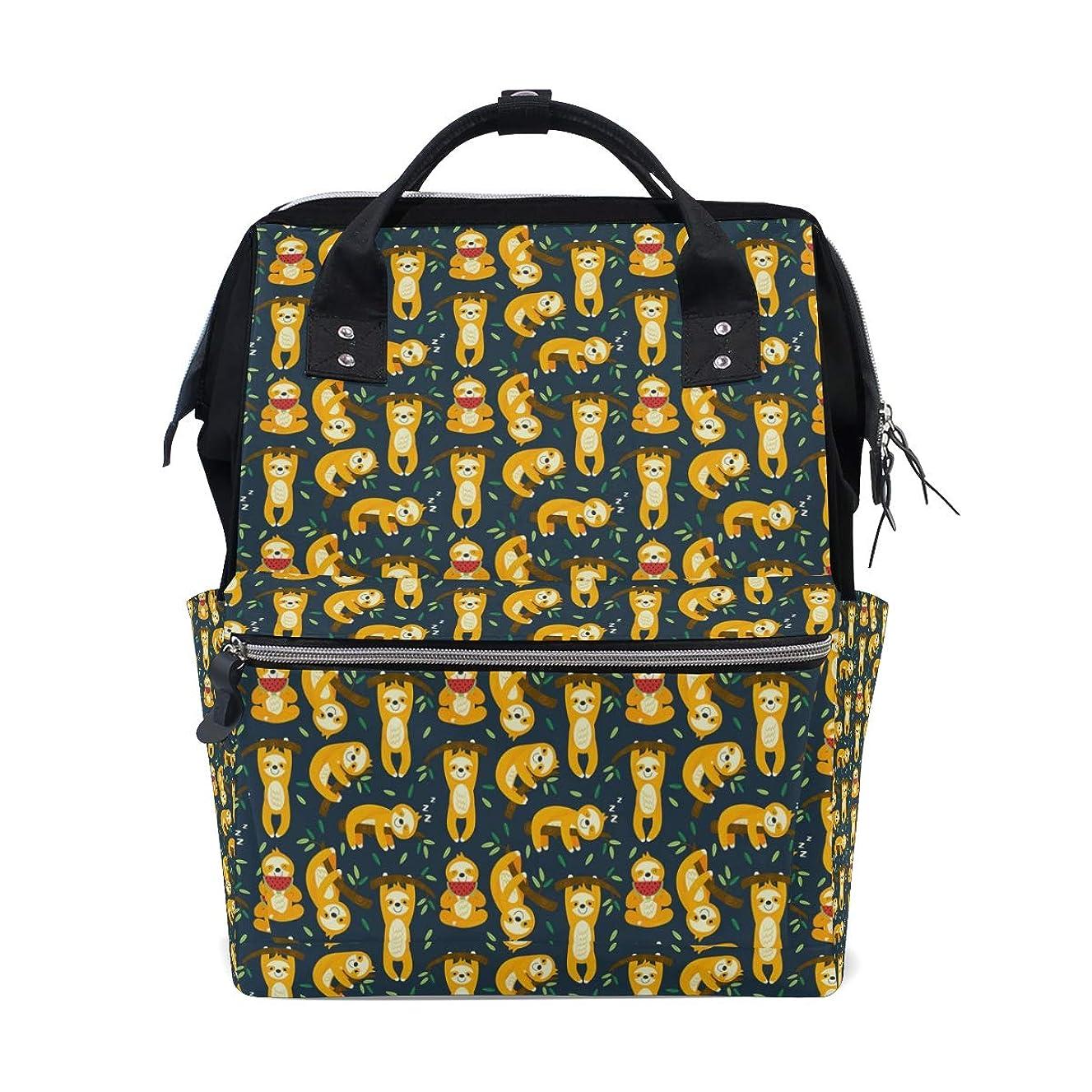 Backpack Green Cartoon Sloth School Rucksack Diaper Bags Travel Shoulder Large Capacity Bookbag for Women Men