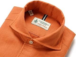 ルイジボレッリ ルイジボレリ LUIGI BORRELLI / 20SS!製品洗いリネンポプリン無地イタリアンカラーシャツ「VESUVIO(9131)」 (テラコッタ) メンズ