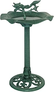 "Alpine Corporation 33"" Tall Outdoor Lotus Birdbath Yard Statue, Green"
