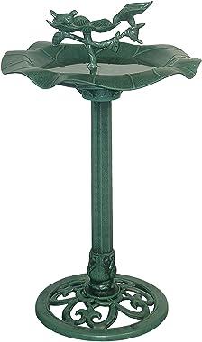 "Alpine Corporation TEC108, Green Alpine 33"" Tall Outdoor Lotus Birdbath Yard Statue"