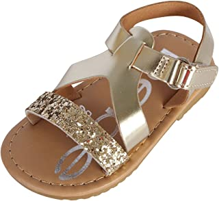 bebe Toddler Girls' Sandals – Strappy Leatherette Sandals with Hook and Loop Heel Strap