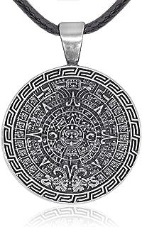 Maya Inspired Mayan Calendar Pendant Necklace Pewter Jewelry