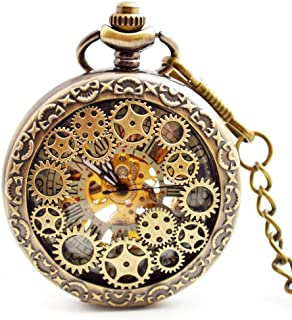 BOSHIYA Mens Vintage Skeleton Pocket Watch Steampunk Windup Half Hunter Mechanism Gear Cover with Chain