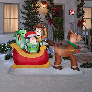 AIR CHARACTERS 8' Gemmy Airblown Inflatable Toy Story Bullseye Pulling Sleigh w/Woody, Buzz, Pizza Planet Alien 37598