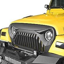Hooke Road Jeep TJ Gladiator Grille Cover Front Vader Grill w/Mesh Inserts for 1997-2006 Jeep Wrangler TJ LJ (Matte Black)