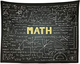 Lunarable Mathematics Classroom Tapestry, Dark Blackboard Backdrop with Math Equations Geometry Axis Art, Fabric Wall Hanging Decor for Bedroom Living Room Dorm, 28