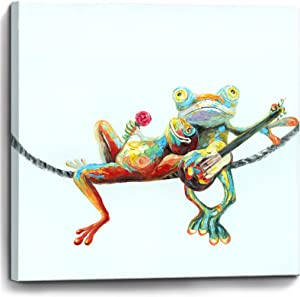 Bathroom Decor Wall Art Frogs in Love Picture Print Painting Framed Canvas Artwork Wall Decor for Bedroom Kitchen Modern Home Animal Wall Decorations Size 14x14 inch Ready to Hang Frogs Wall Art