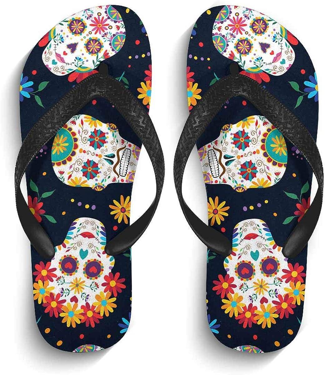 INTERESTPRINT Non-Slip Flip Flops Black Straps Daisy White Gentle Chamomile Summer Beach Thong Sandal for Men