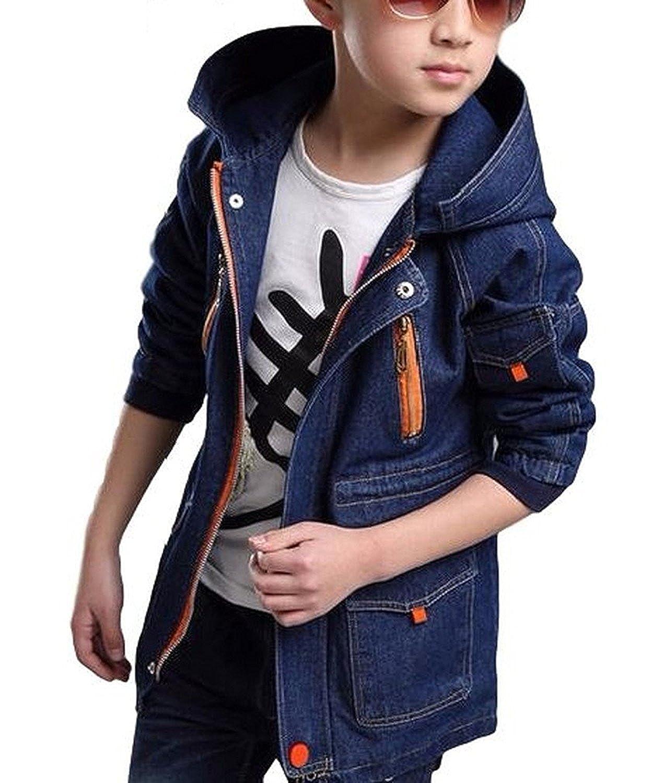 [Nana_Collection(ナナコレクション)] 秋 キッズ 子供 男の子 デニム フード ジップアップ オーバー コート ジャンパー ブルー 90cm