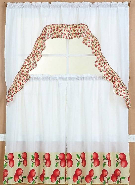 Wpm 3 Piece Kitchen Curtain Set 2 Tiers And 1 Valance Apple Home Kitchen